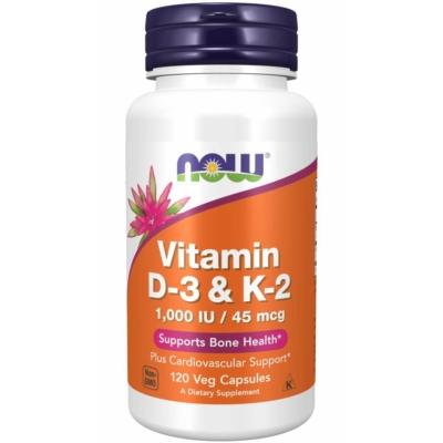 Now Vitamin D-3 & K-2 120 Veg Capsules