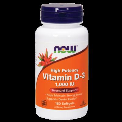 NOW D3 Vitamin D-3 1,000 IU 180 Sgels
